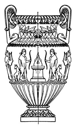 L'Amphore d'État antique est en marbre blanc avec des poignées de cygne, c'est un vase en argile avec une poignée en corde, un dessin de ligne vintage ou une illustration de gravure.