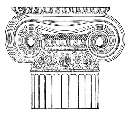 Ionic Angle Column from the Temple of Minerva Polias at Athens, Front, good effect of the Ionic capital, produced by the front-view, introduced between pillars, vintage line drawing or engraving illustration.