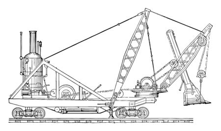 This illustration represents Steam Shovel which is an excavator that is powered by steam, vintage line drawing or engraving illustration.
