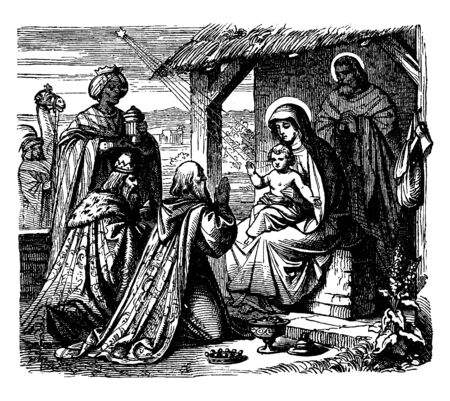 This picture shows that a wise man down their knee in front of Jesus, vintage line drawing or engraving illustration. Foto de archivo - 133022272