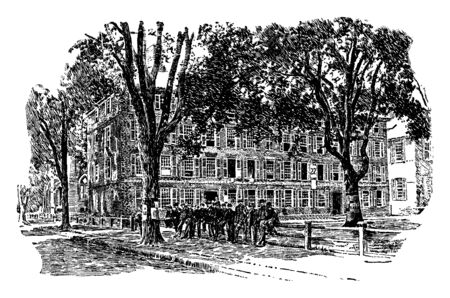 The Old Fence at Yale in front of Old Brick Row college, side of Bingham Hall, vintage line drawing or engraving illustration.