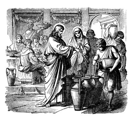 Jesus has converted the water into wine at a ceremony, vintage line drawing or engraving illustration.