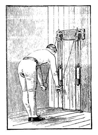 Ein Mann, der Brustübungen durchführt, indem er Gewichte aus beiden Armen an der Maschine zieht. In dieser Übung hat er sich gebeugt und einen 90-Grad-Winkel gemacht und dann Gewichte aus beiden Armen zusammengezogen, Vintage-Linienzeichnung oder Gravierillustration.