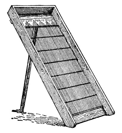 This illustration represents Sand Screen which used to sift out pebbles stones and shells from sand, vintage line drawing or engraving illustration. Ilustrace