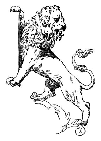 Lion Supporting Shield is a modern form of a statue, vintage line drawing or engraving illustration.