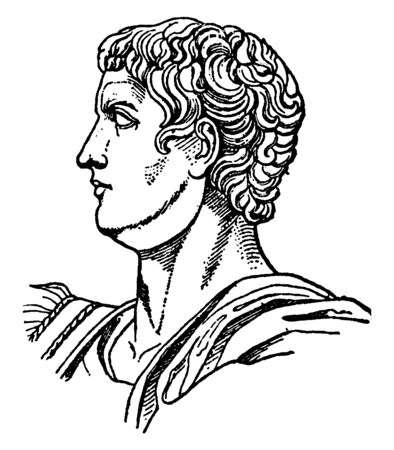 Caligula, AD 12-AD 41, he was third Roman emperor from AD 3741, and a member of the Julio-Claudian dynasty, vintage line drawing or engraving illustration