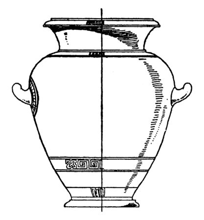Greek Urn is designed with painted clay, its used in funeral rites as a repository for the ashe, vintage line drawing or engraving.
