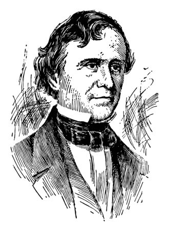 Franklin Pierce, 1804-1869, he was the fourteenth president of the United States from 1853 to 1857, United States senator and representative from New Hampshire, vintage line drawing or engraving illustration