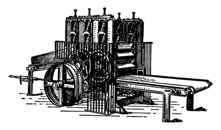 This illustration represents function of Jute Opener, vintage line drawing or engraving illustration.