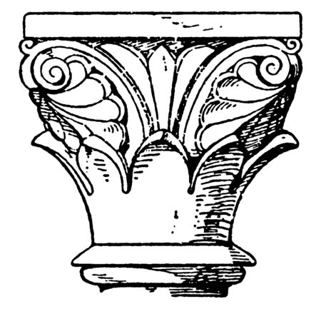 Romanesque Capital, reminiscent of the Antique style,  Romanesque Architecture, vintage line drawing or engraving illustration.  イラスト・ベクター素材