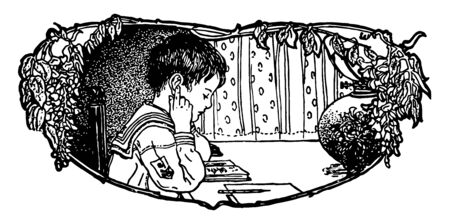 Boy Studying and sitting,  classroom banner,  homework banner, table study, vintage line drawing or engraving illustration. Illusztráció