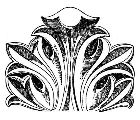 Byzantine Leaf is a design found in Constantinople, vintage line drawing or engraving illustration. Illusztráció