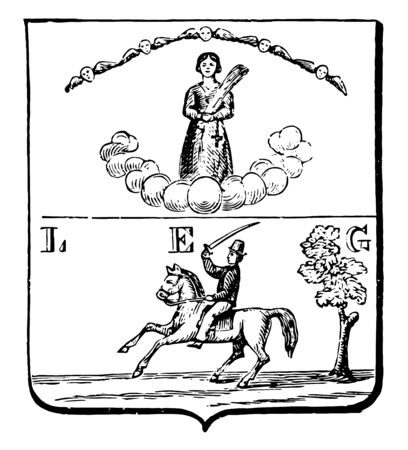 Coat of Arms, Cuba, this shield shape seal has two sections, It has female figure with cross and cloud in top section, a man riding horse holding sword in one hand and tree in bottom section, vintage