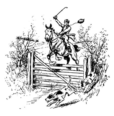 A boy is sitting on a horse with rein in his hand and chasing two dogs, vintage line drawing or engraving illustration.