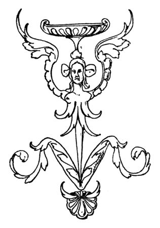 Thin Grotesque Column is a squatting winged female without arms, vintage line drawing or engraving illustration.