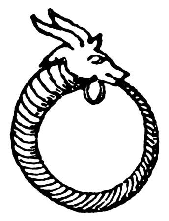 Egyptian Earring is a ring that is not quite closed, vintage line drawing or engraving illustration. Ilustração