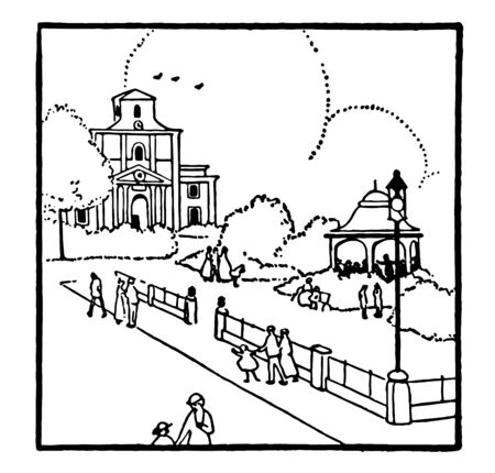 This is a flock square where some people are roaming, vintage line drawing or engraving illustration. Illusztráció