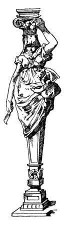 Modern Caryatid, Greek, maidens,  town, temple, goddess, vintage line drawing or engraving illustration. Banque d'images - 133015222