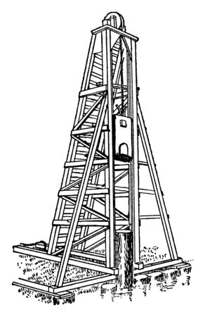 This illustration represents Pile Driver which is powered by a horse, vintage line drawing or engraving illustration.