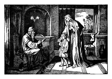 A picture of Three year old Samuel, The High Priest Eli and Hannah the mother of Samuel. There is a hanging lamp, two scrolls on a table and a bench, and a window revealing a city in the distance, vintage line drawing or engraving illustration.