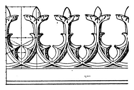 Modern Gothic Cresting Border is made out of cast-iron, vintage line drawing or engraving illustration.