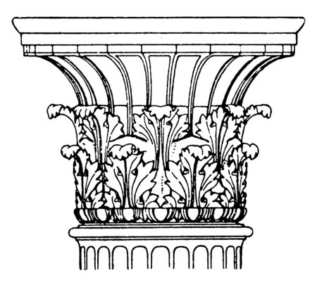 Antique Corinthian is found in Melos, Greece Capital, antique, cylindrical, design, greece, vintage line drawing or engraving illustration. Çizim