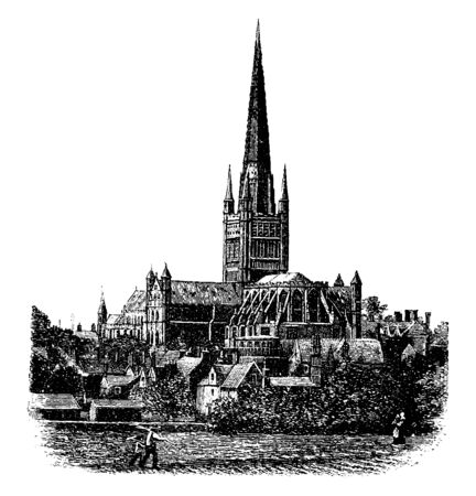 The Cathedral of East Anglia (Norwich), Abbey, cathedral sanctuary church england canterbury, chapel, Christian, minster, parish, place of worship, vintage line drawing or engraving illustration.