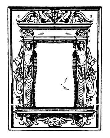 Pulpit Frame was a German frame, that was dated between 1595 to 1597, vintage line drawing or engraving illustration. Иллюстрация