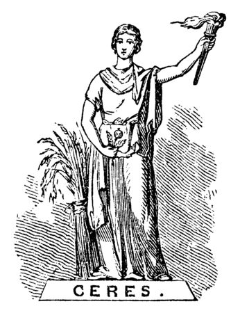 This is statue of a Ceres. She had a fire lamp in one hand and crop in another hand. Bundle of crop put near her, vintage line drawing or engraving illustration.
