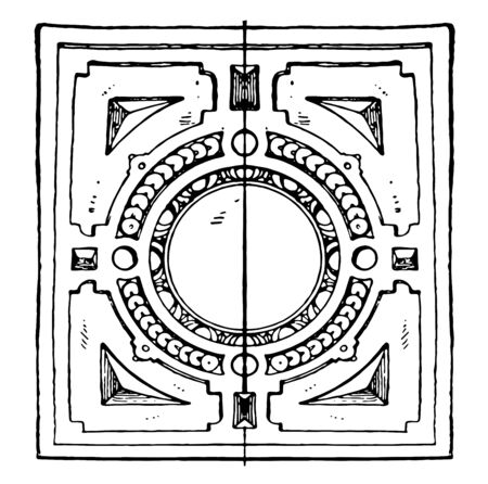 Coffer Frame of the German Renaissance, it was a round shape, vintage line drawing or engraving illustration. Vettoriali