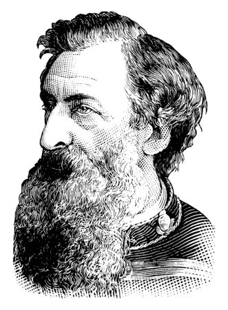 Rev. William Booth, 1829-1912, he was a British Methodist preacher, founder of the salvation army, first general of the salvation army, vintage line drawing or engraving illustration