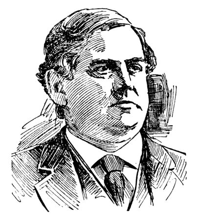Phillips Brooks, 1835-1893, he was an American episcopal clergyman and author, and Bishop of Massachusetts, famous as lyricist of the Christmas hymn O Little Town of Bethlehem, vintage line drawing or engraving illustration
