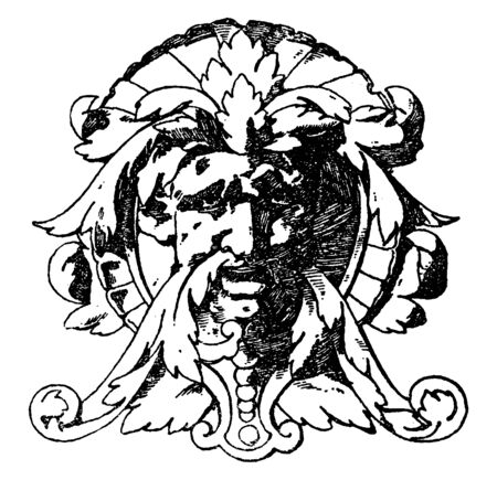 Modern French Grotesque Mask were used on consoles, vintage line drawing or engraving illustration.