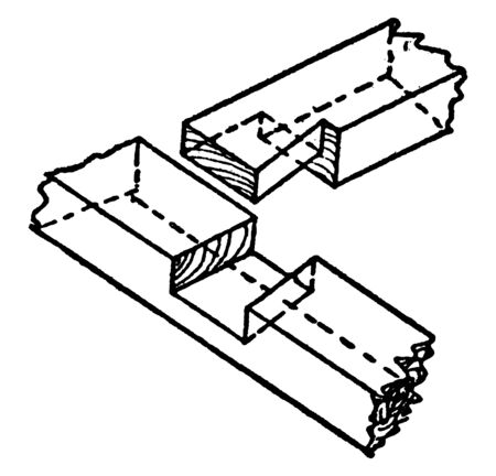 This illustration represents Dovetail Halving which is used in woodworking, vintage line drawing or engraving illustration.