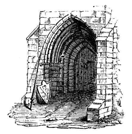 Early English Door, The most significant, characteristic development, known as the lancet, used almost universally, vintage line drawing or engraving illustration.