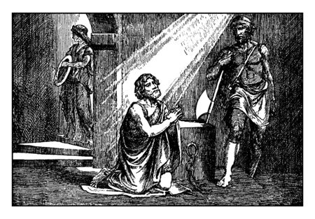 John the baptist is praying to Lord just before his beheading, vintage line drawing or engraving illustration.