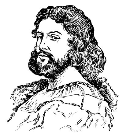 Ludovico Ariosto, 1474-1533, he was an Italian poet, famous for his epic poem Orlando Furioso, vintage line drawing or engraving illustration Foto de archivo - 133022577