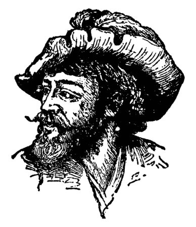 Fernando Cortez, 1485-1547, he was a Spanish conquistador who conquered Mexico for Spain, he was also first and third governor of New Spain, vintage line drawing or engraving illustration