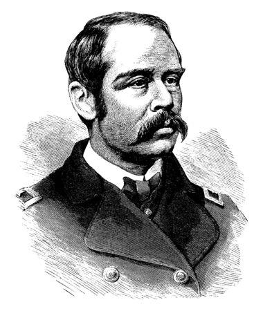 El general Francis C. Barlow, 1834-1896, fue un político, abogado y general sindical durante la guerra civil estadounidense, línea vintage de dibujo o ilustración de grabado