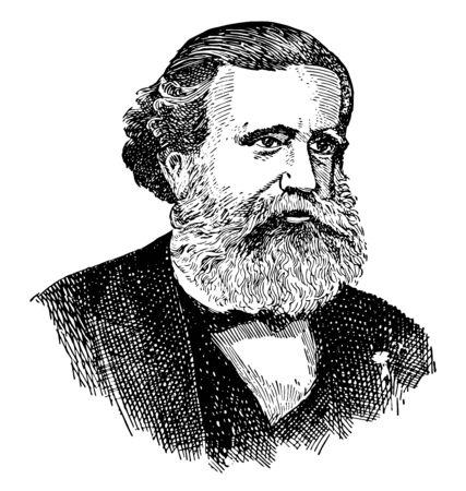 Dom Pedro II. von Brasilien, 1825-1891, er war der zweite und letzte Herrscher des brasilianischen Reiches, Vintage-Linien-Zeichnung oder Gravierillustration
