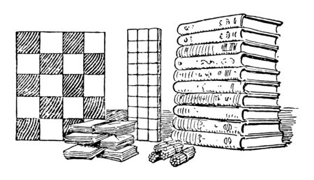 Books is a set of sheets of paper, parchment, or similar materials, vintage line drawing or engraving illustration.