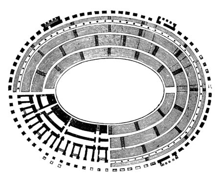 Ground Plan of the Colosseum,  representation of the Tiers of Seats, the Substructure, shape of the amphitheatre was borrowed from that of the theatre, vintage line drawing or engraving illustration.