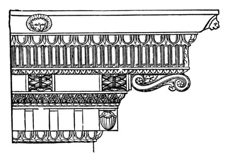 Corinthian Cornice,  distinguished from the Ionic, mutules and modillions, the place of the dentels, the latter style, vintage line drawing or engraving illustration. Çizim