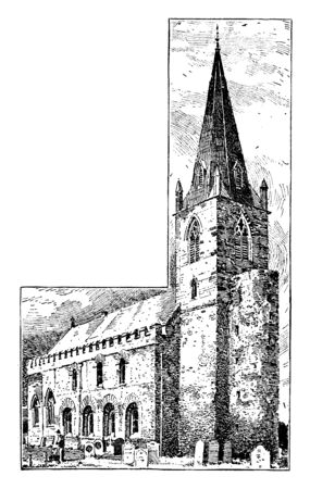 All Saints Church, Brixworth, Abbey, cathedral church british, chapel, Christian, minster, parish, place of worship, vintage line drawing or engraving illustration.