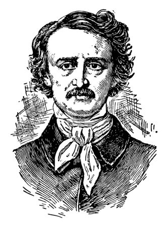 Edgar Allan Poe, 1809-1849, he was an American writer, editor, and literary critic, vintage line drawing or engraving illustration