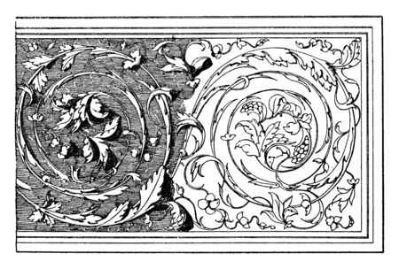 Renaissance Ornament is a relief on the tomb of Hieronimo Basso, vintage line drawing or engraving illustration.