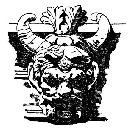 Grotesque Horn Mask is a design used on keystones and carved furniture, vintage line drawing or engraving illustration.