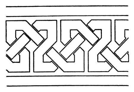 Simple Moorish Interlacement Band found in the palace of Alhambra, it is a very nice style, vintage line drawing or engraving.