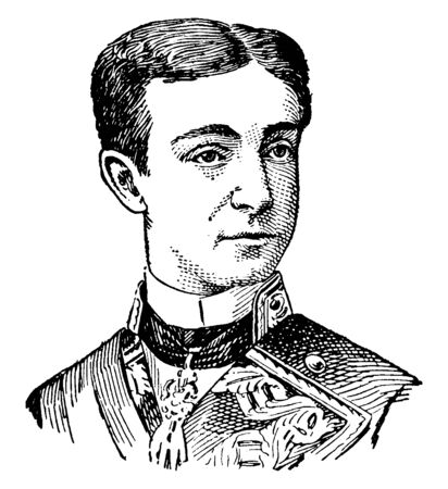 Alfonso XII, 1857-1885, he was the king of Spain from 1874 to 1885, vintage line drawing or engraving illustration Ilustração