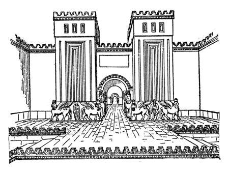 Khorsabad Palace Gate, dur, sharrukin, fortress, sargon, vintage line drawing or engraving illustration